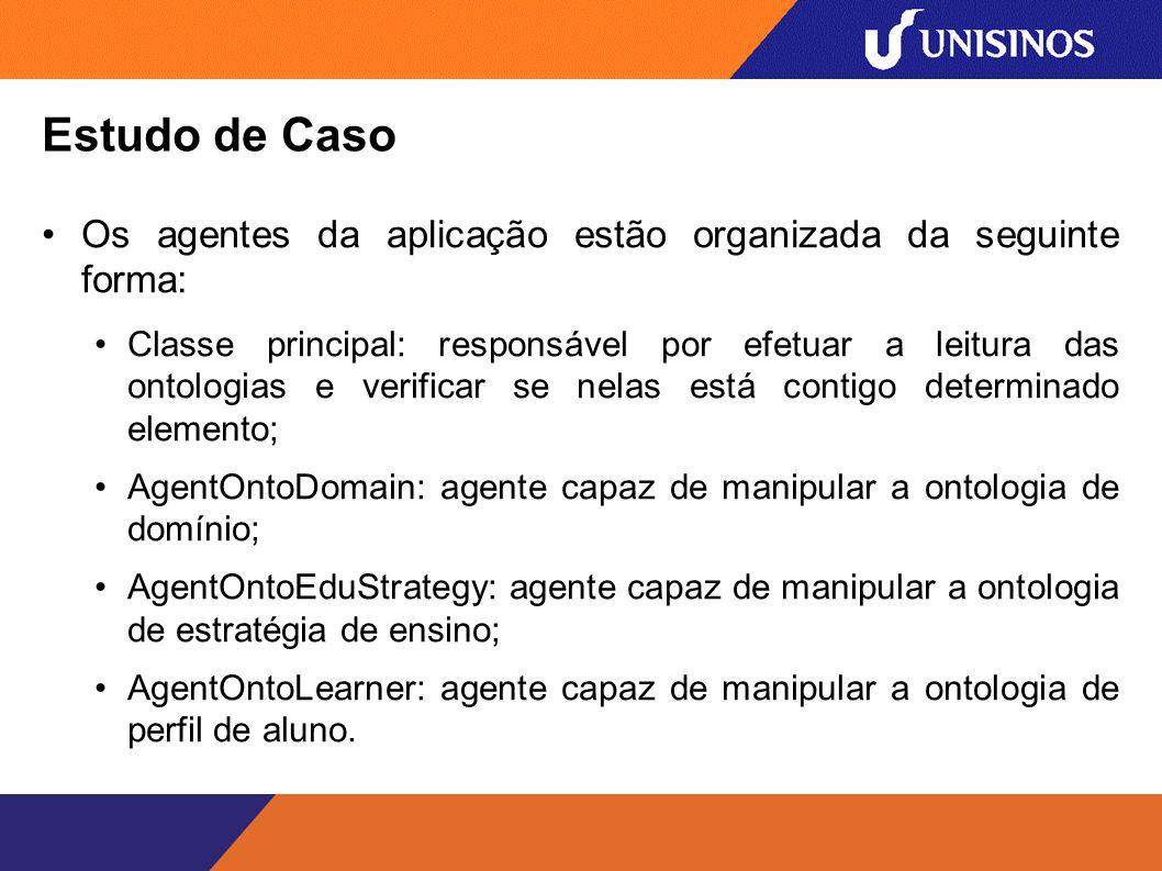 Estudo de Caso Os agentes da aplicação estão organizada da seguinte forma: