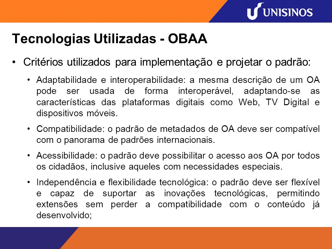 Tecnologias Utilizadas - OBAA