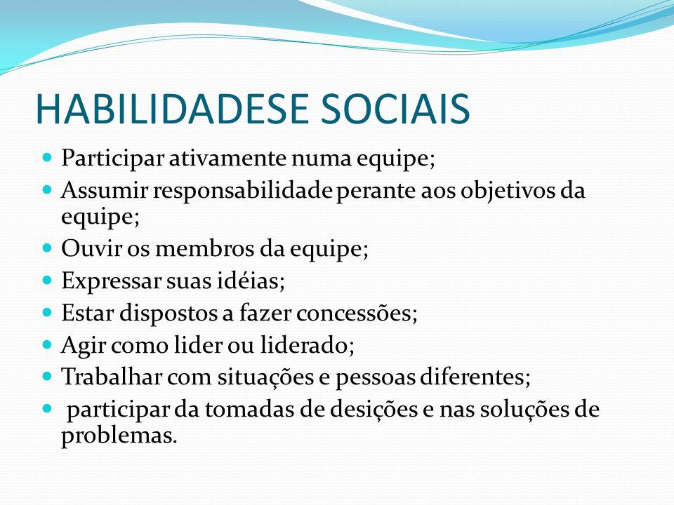 HABILIDADESE SOCIAIS Participar ativamente numa equipe;