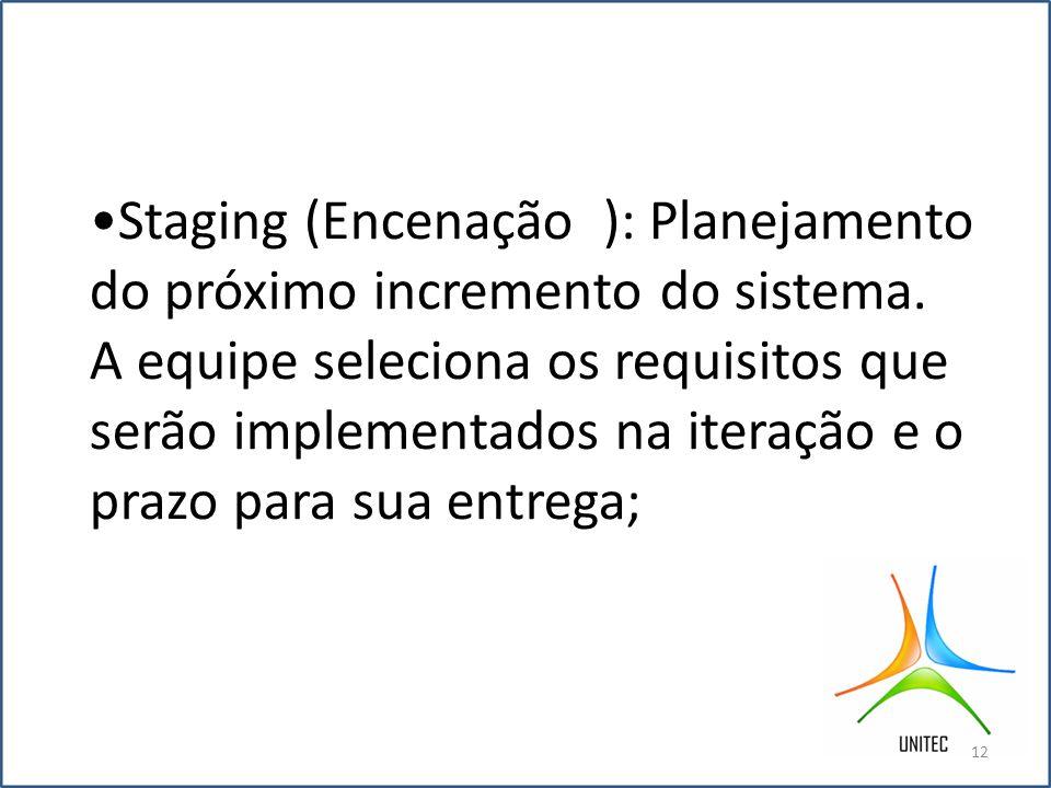 •Staging (Encenação ): Planejamento do próximo incremento do sistema
