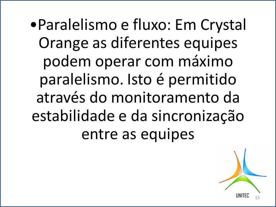 •Paralelismo e fluxo: Em Crystal Orange as diferentes equipes podem operar com máximo paralelismo.