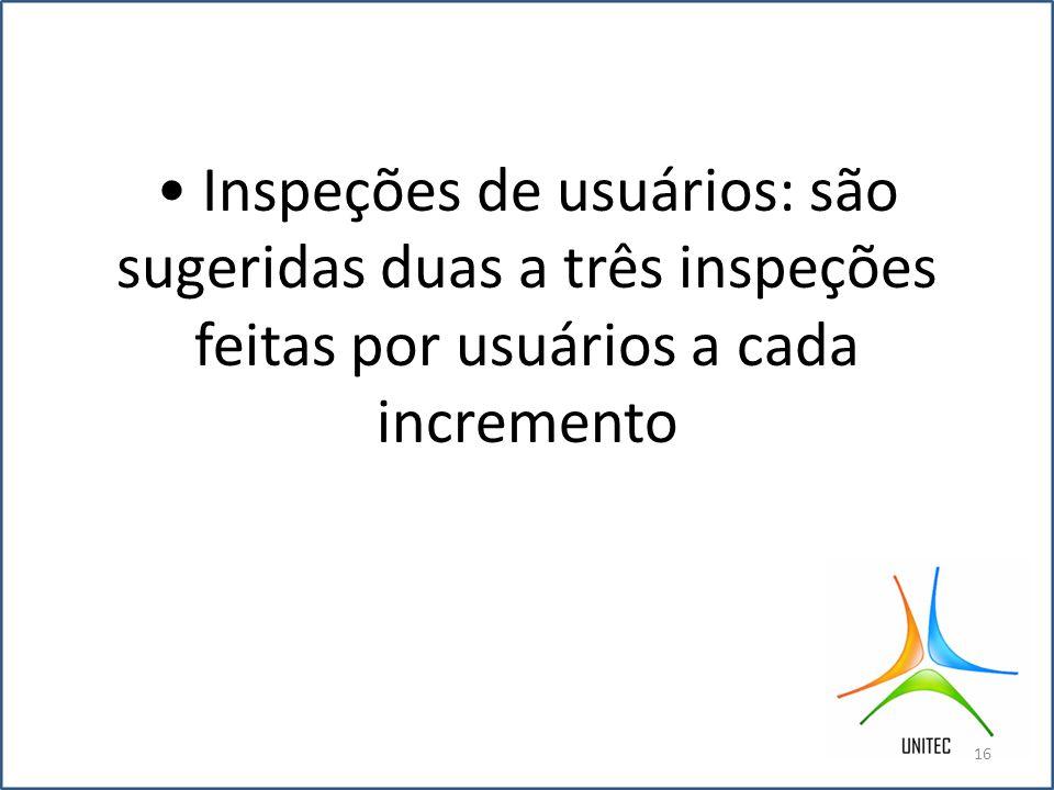• Inspeções de usuários: são sugeridas duas a três inspeções feitas por usuários a cada incremento