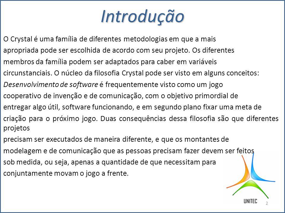 Introdução O Crystal é uma família de diferentes metodologias em que a mais. apropriada pode ser escolhida de acordo com seu projeto. Os diferentes.