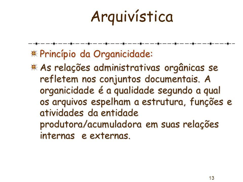 Arquivística Princípio da Organicidade: