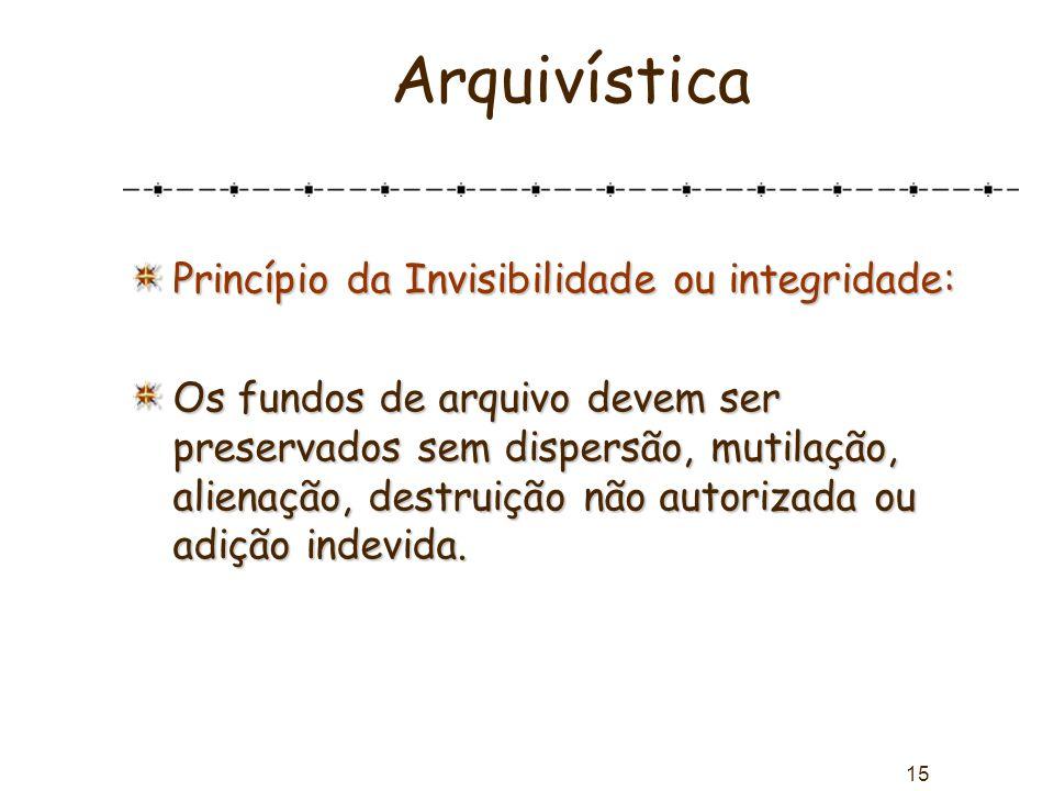 Arquivística Princípio da Invisibilidade ou integridade: