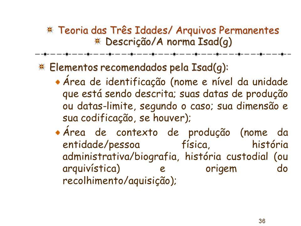 Teoria das Três Idades/ Arquivos Permanentes Descrição/A norma Isad(g)