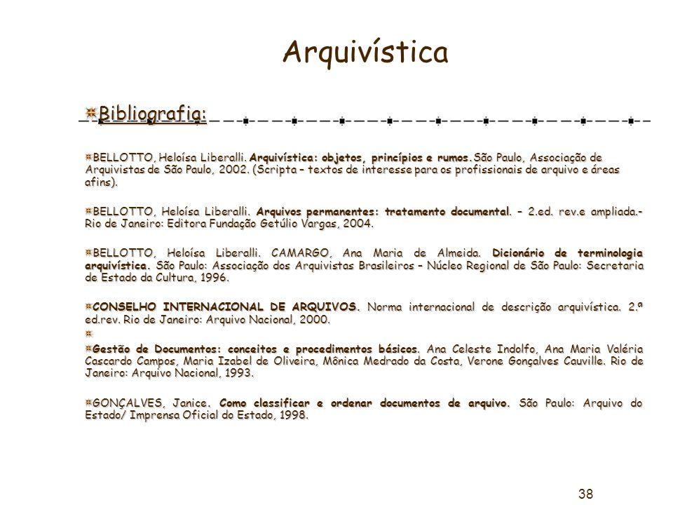 Arquivística Bibliografia: