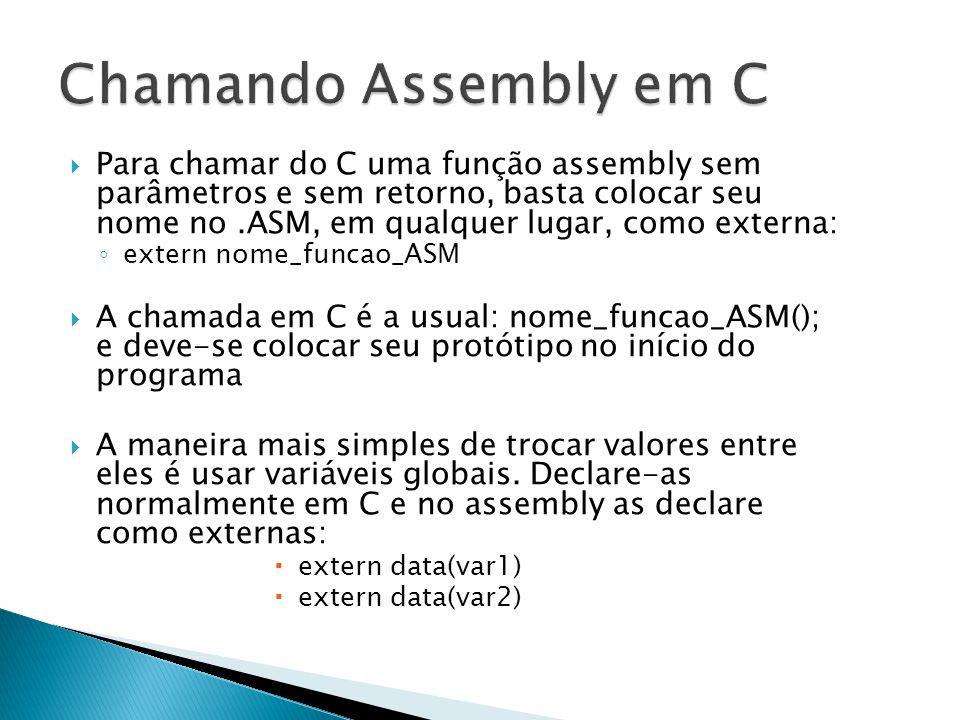 Chamando Assembly em C