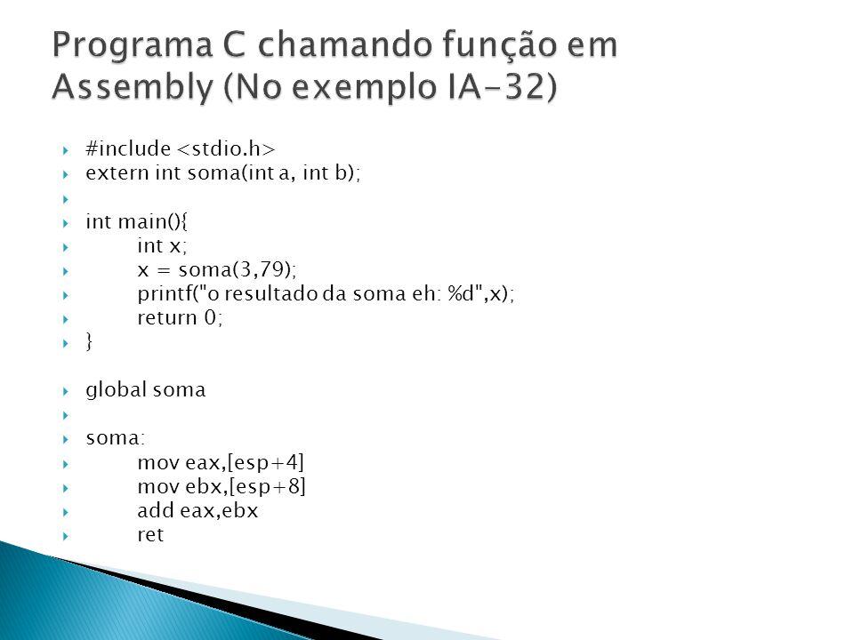 Programa C chamando função em Assembly (No exemplo IA-32)