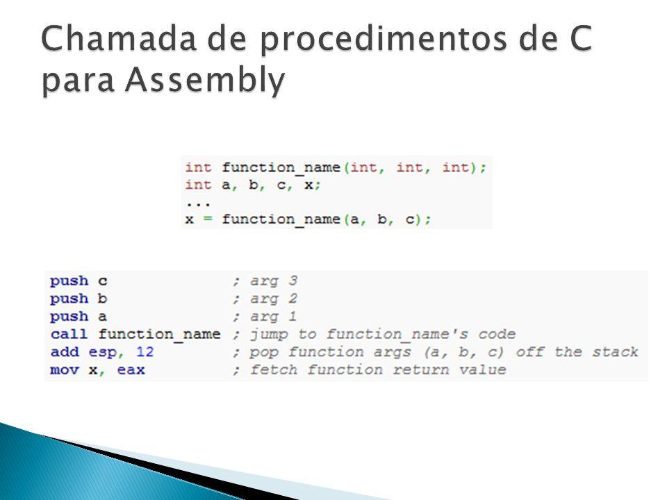 Chamada de procedimentos de C para Assembly