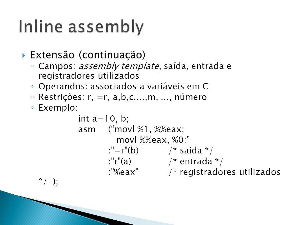 Inline assembly Extensão (continuação)