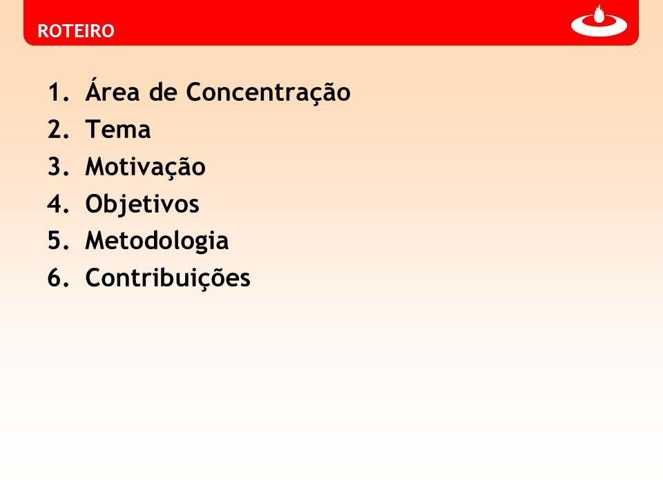 Área de Concentração Tema Motivação Objetivos Metodologia