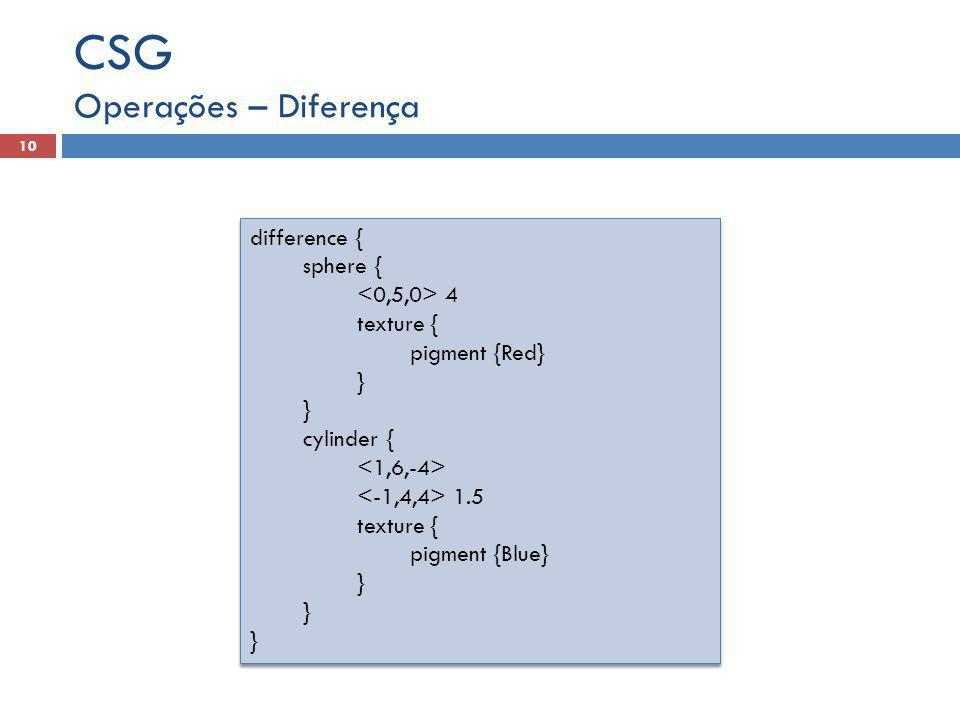 CSG Operações – Diferença difference { sphere { <0,5,0> 4