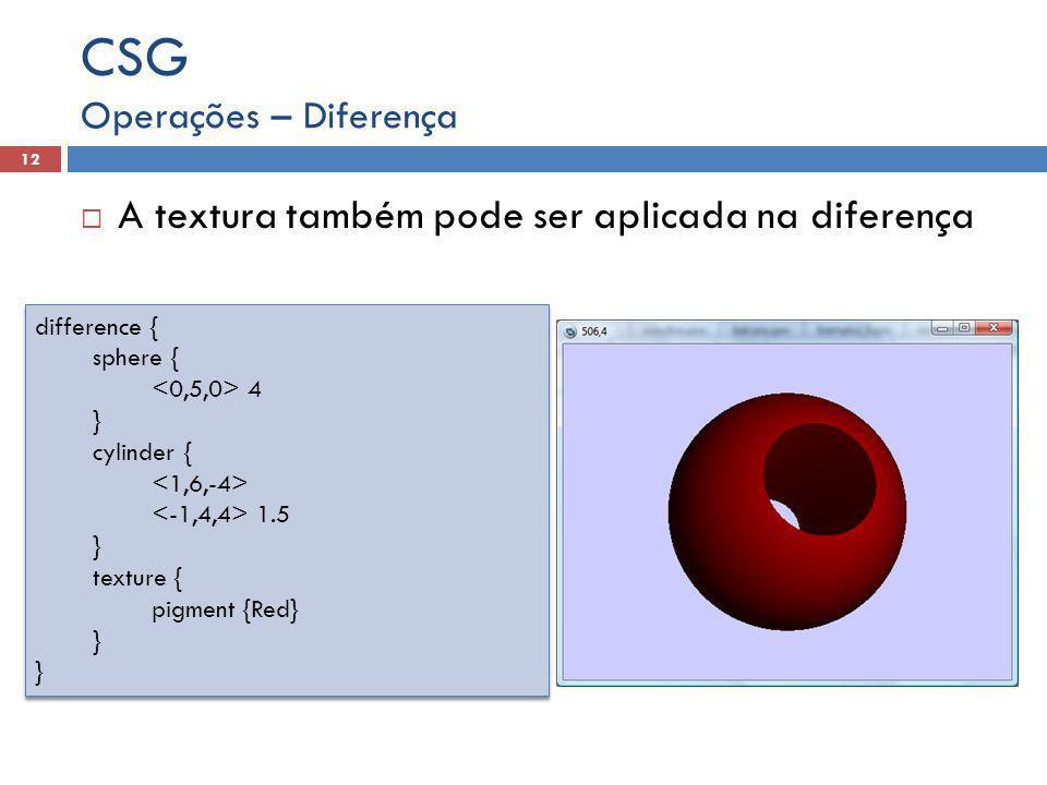 CSG A textura também pode ser aplicada na diferença
