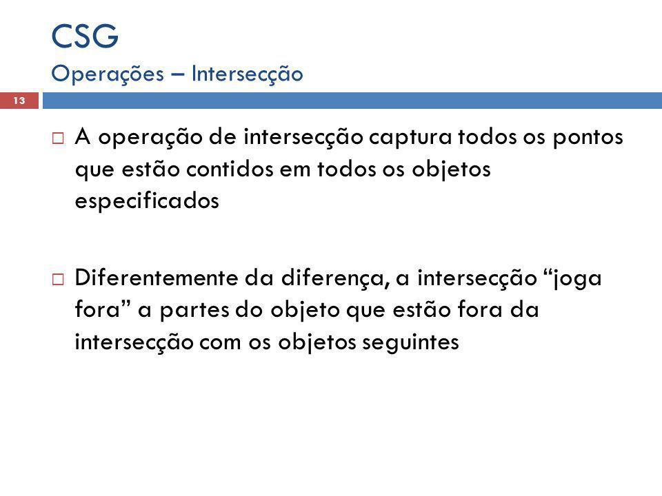 CSG Operações – Intersecção. A operação de intersecção captura todos os pontos que estão contidos em todos os objetos especificados.