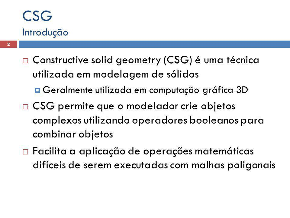 CSG Introdução. Constructive solid geometry (CSG) é uma técnica utilizada em modelagem de sólidos.