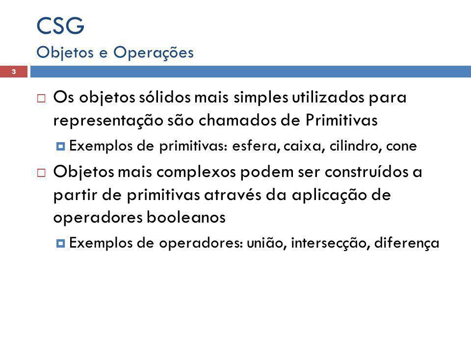 CSG Objetos e Operações. Os objetos sólidos mais simples utilizados para representação são chamados de Primitivas.