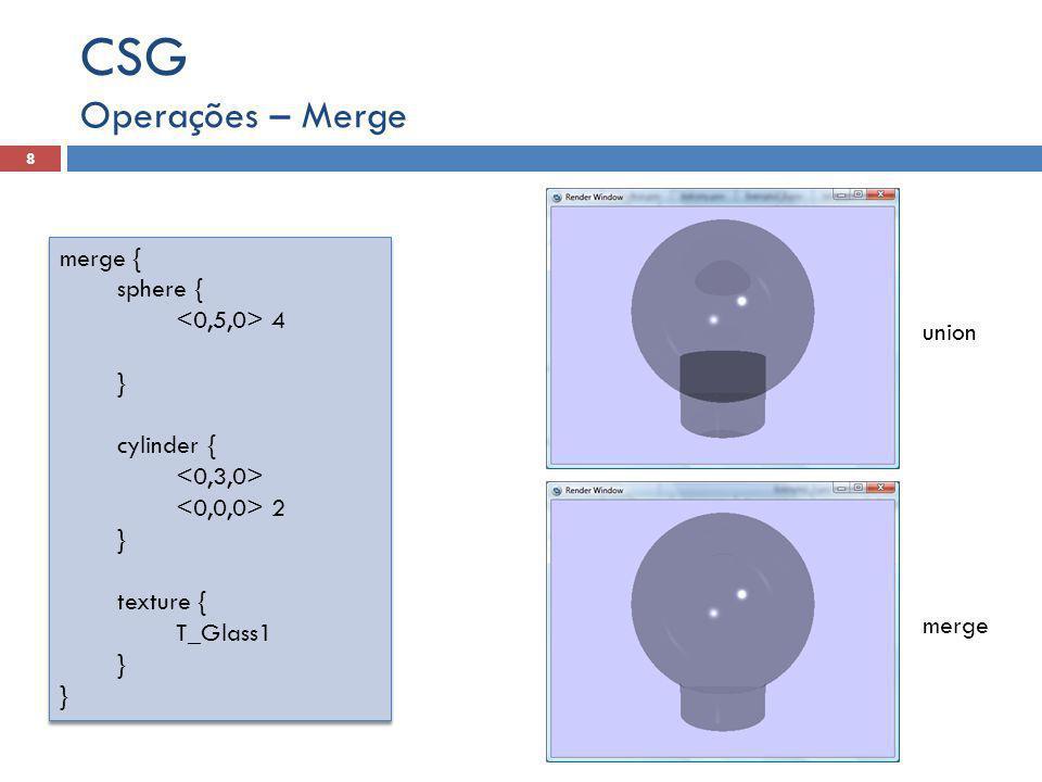 CSG Operações – Merge merge { sphere { <0,5,0> 4 } union