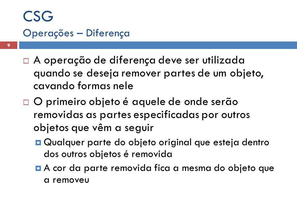 CSG Operações – Diferença. A operação de diferença deve ser utilizada quando se deseja remover partes de um objeto, cavando formas nele.