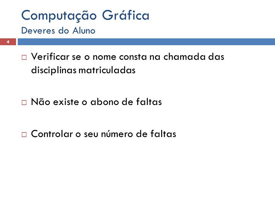 Computação Gráfica Deveres do Aluno. Verificar se o nome consta na chamada das disciplinas matriculadas.
