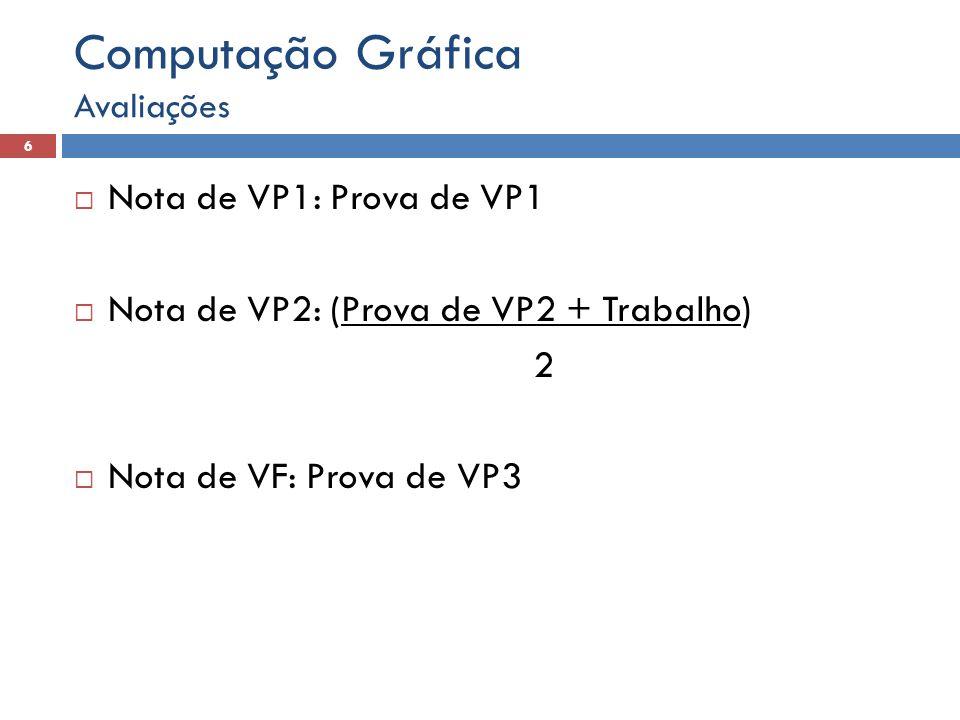 Computação Gráfica Nota de VP1: Prova de VP1