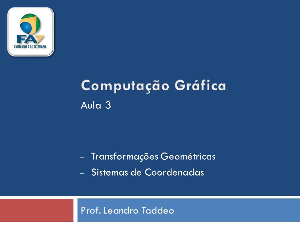 Computação Gráfica Aula 3 Transformações Geométricas