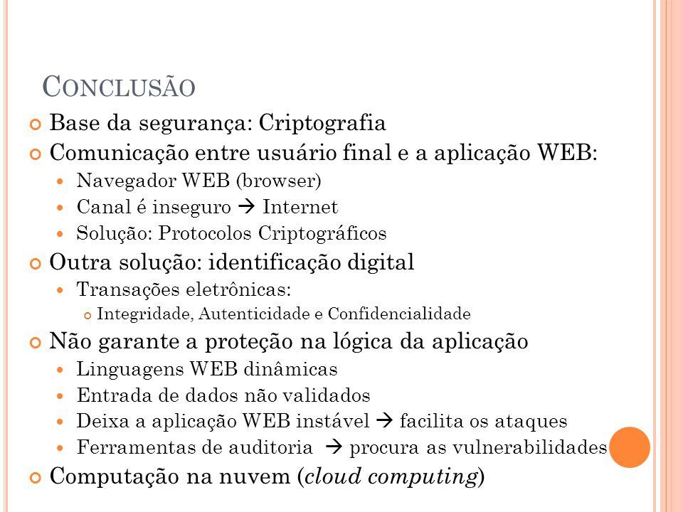 Conclusão Base da segurança: Criptografia