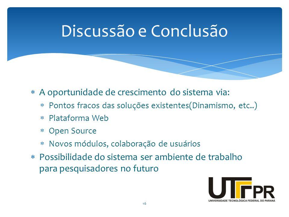 Discussão e Conclusão A oportunidade de crescimento do sistema via: