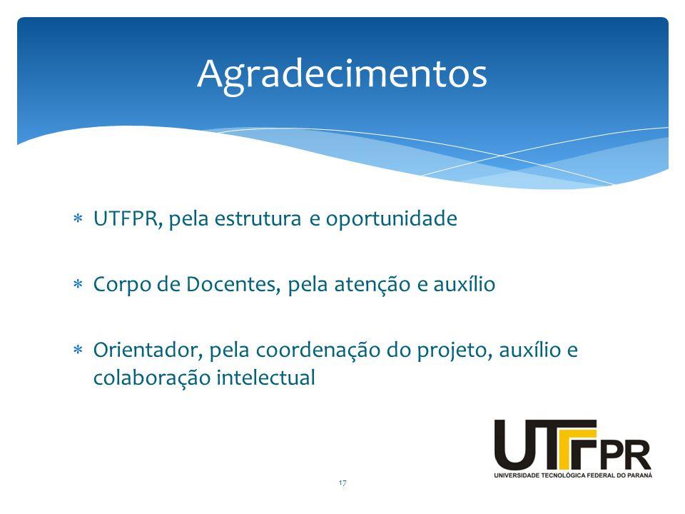 Agradecimentos UTFPR, pela estrutura e oportunidade