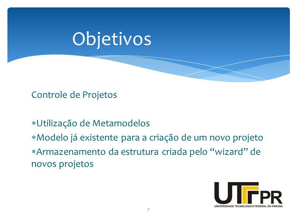 Objetivos Controle de Projetos Utilização de Metamodelos