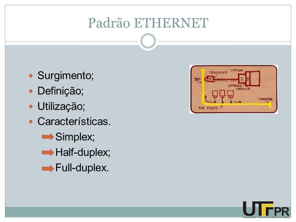 Padrão ETHERNET Surgimento; Definição; Utilização; Características.