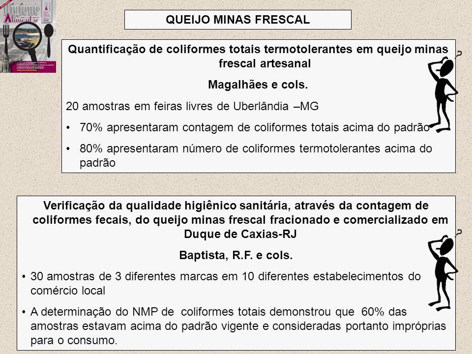 QUEIJO MINAS FRESCAL Quantificação de coliformes totais termotolerantes em queijo minas frescal artesanal.