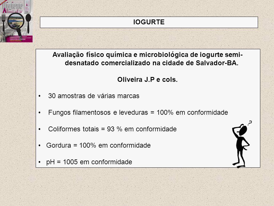 IOGURTE Avaliação físico química e microbiológica de iogurte semi-desnatado comercializado na cidade de Salvador-BA.