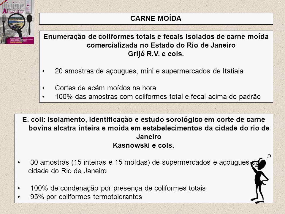 CARNE MOÍDA Enumeração de coliformes totais e fecais isolados de carne moída comercializada no Estado do Rio de Janeiro.