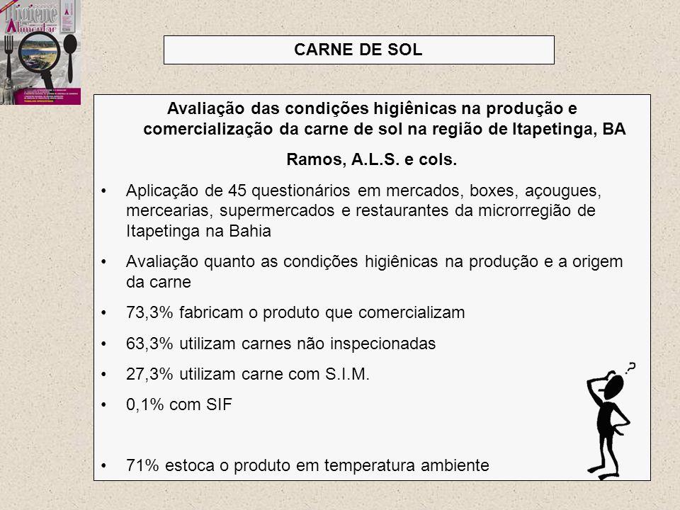 CARNE DE SOL Avaliação das condições higiênicas na produção e comercialização da carne de sol na região de Itapetinga, BA.