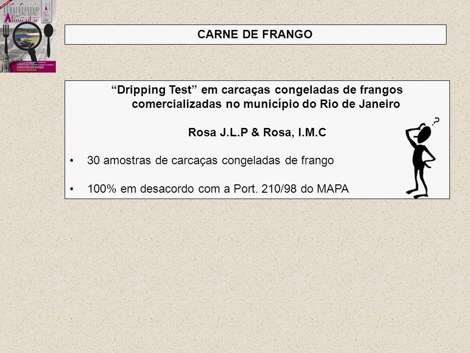 CARNE DE FRANGO Dripping Test em carcaças congeladas de frangos comercializadas no município do Rio de Janeiro.