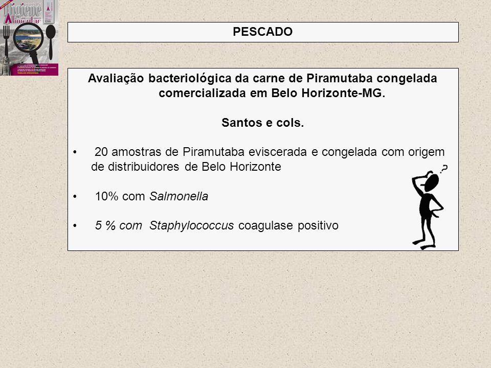 PESCADO Avaliação bacteriológica da carne de Piramutaba congelada comercializada em Belo Horizonte-MG.