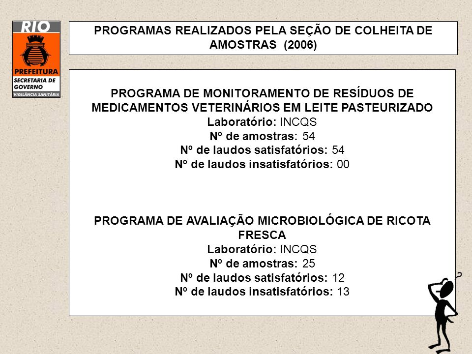 PROGRAMAS REALIZADOS PELA SEÇÃO DE COLHEITA DE AMOSTRAS (2006)