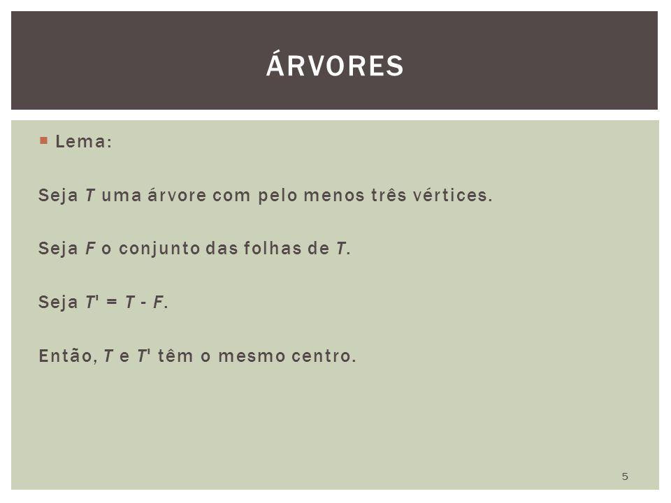 ÁRVORES Lema: Seja T uma árvore com pelo menos três vértices.