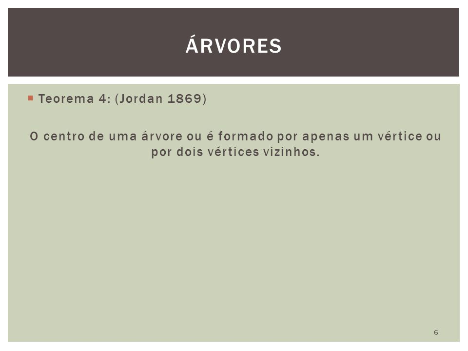 ÁRVORES Teorema 4: (Jordan 1869)