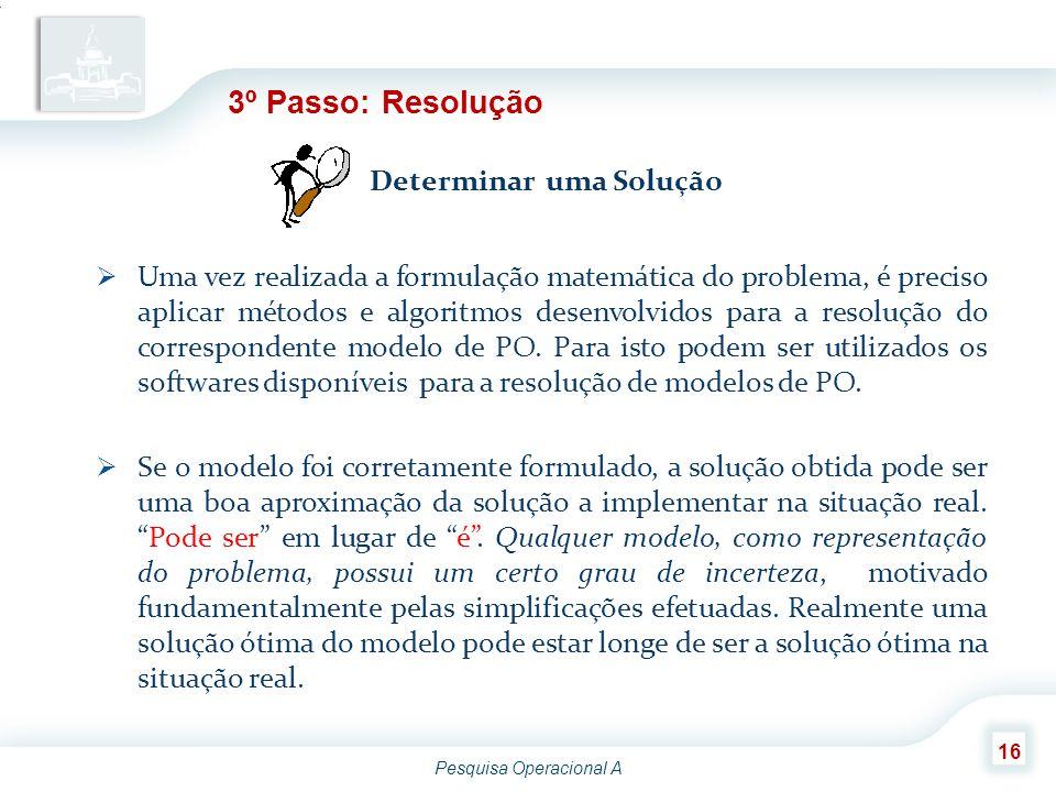 3º Passo: Resolução Determinar uma Solução