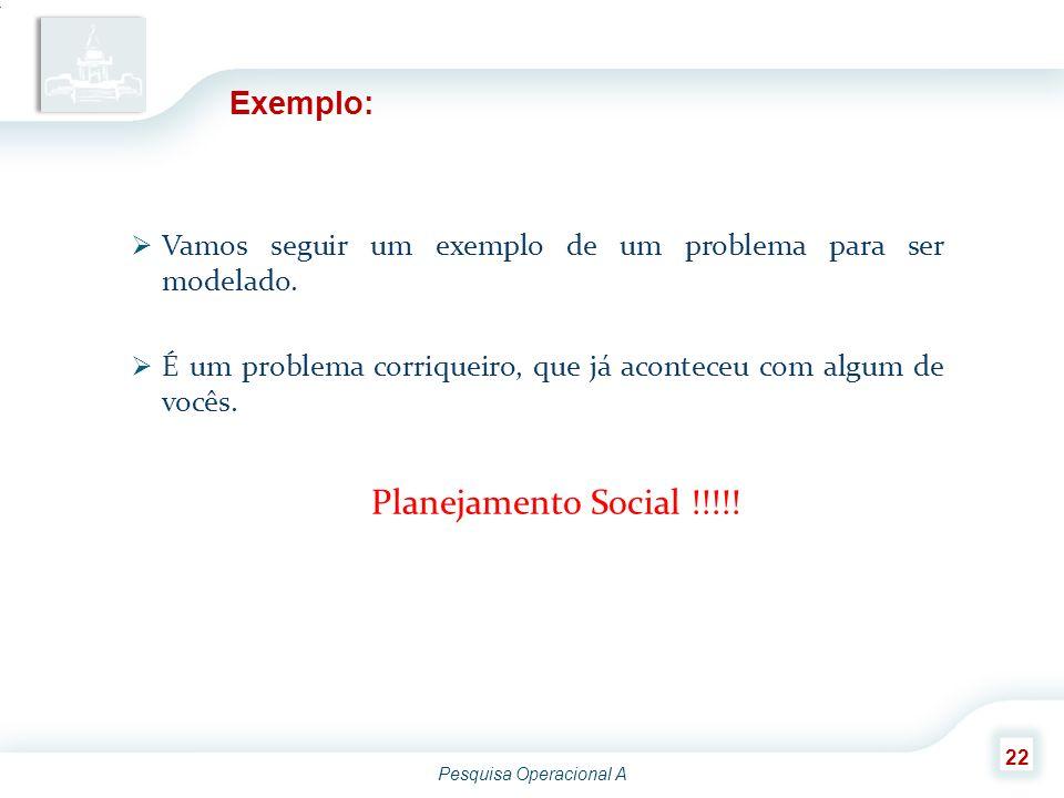 Planejamento Social !!!!! Exemplo: