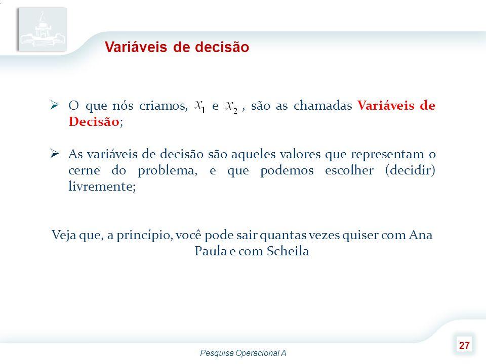 Variáveis de decisão O que nós criamos, e , são as chamadas Variáveis de Decisão;