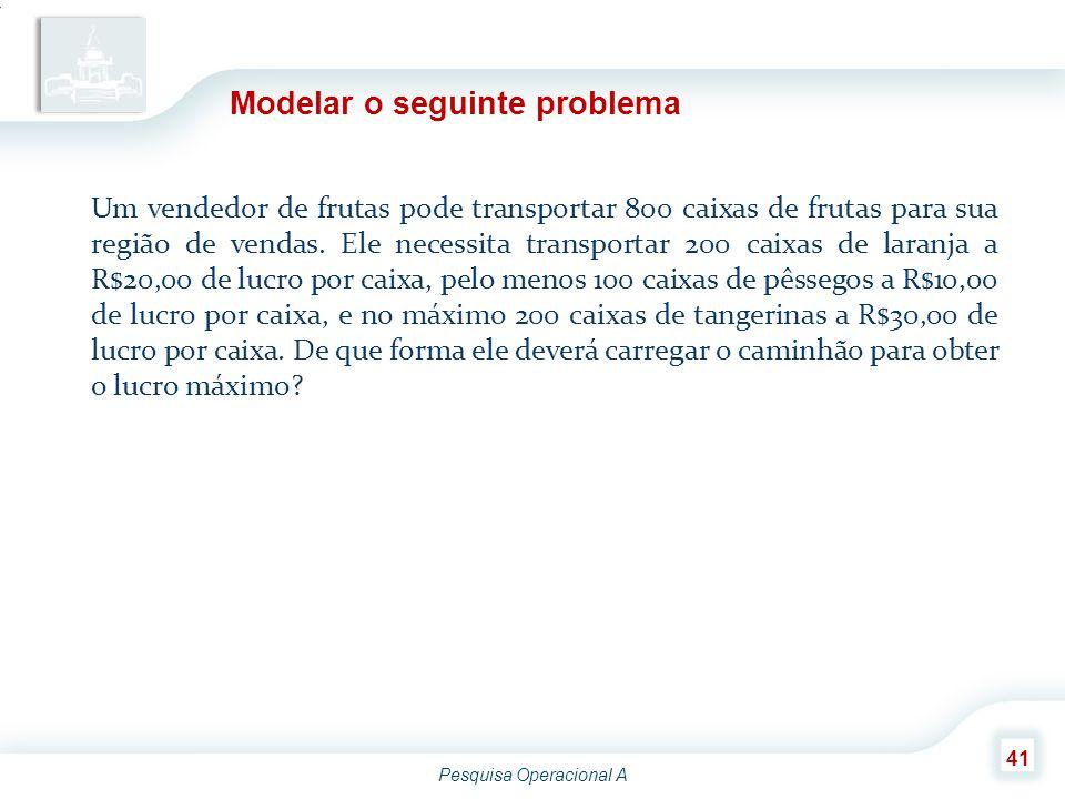 Modelar o seguinte problema