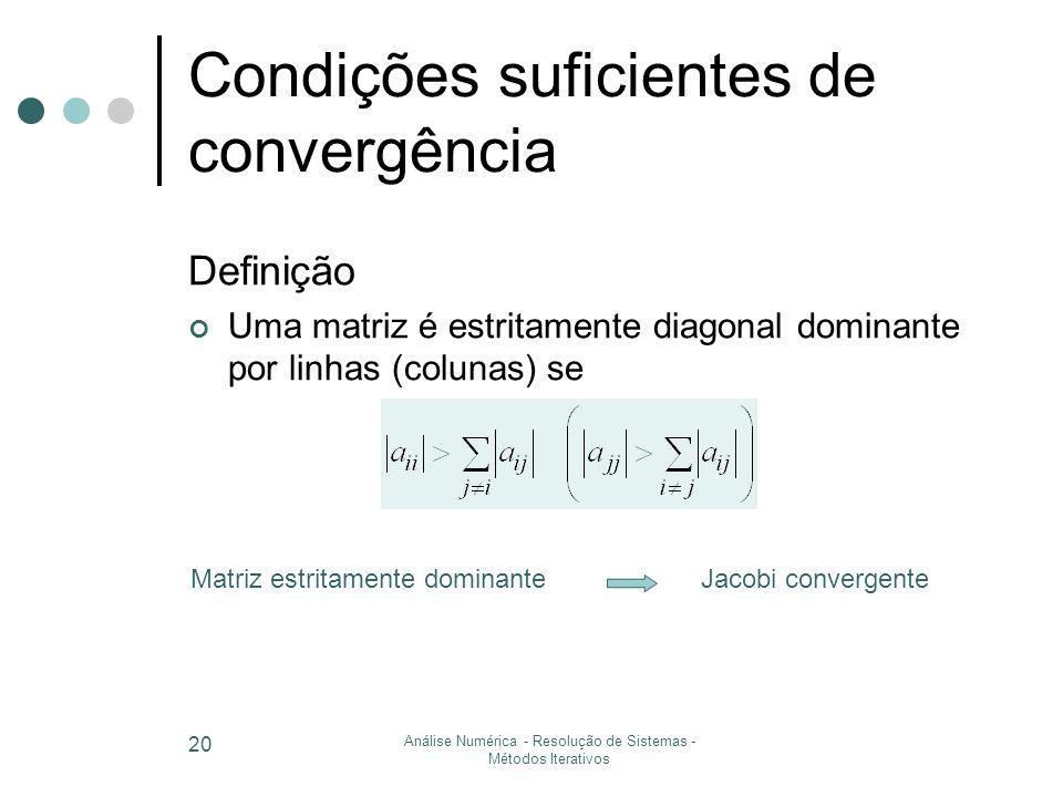 Condições suficientes de convergência