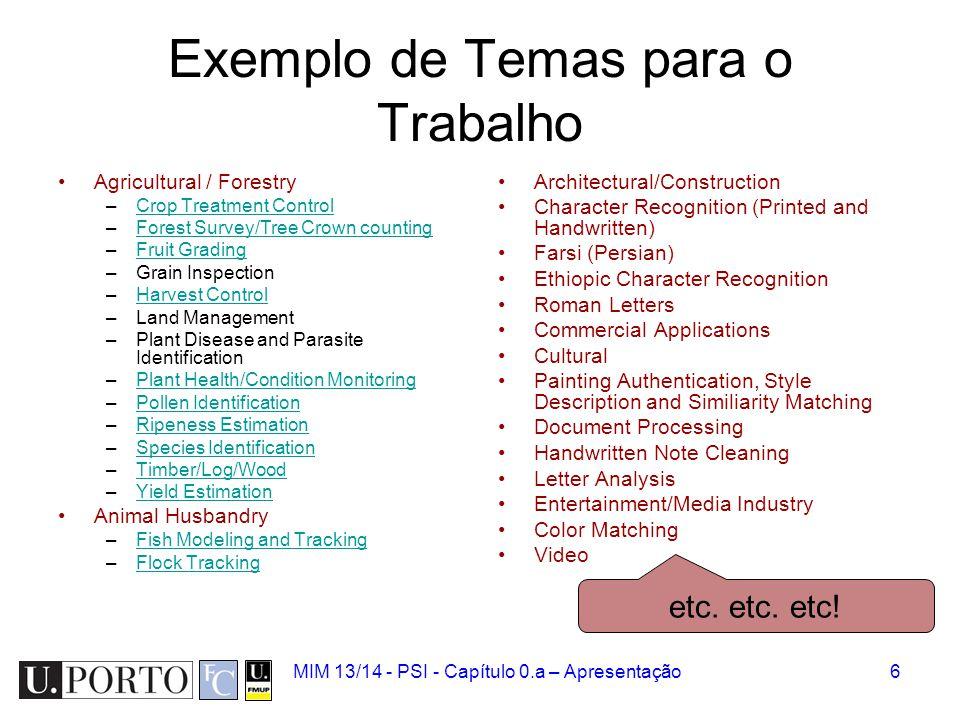 Exemplo de Temas para o Trabalho