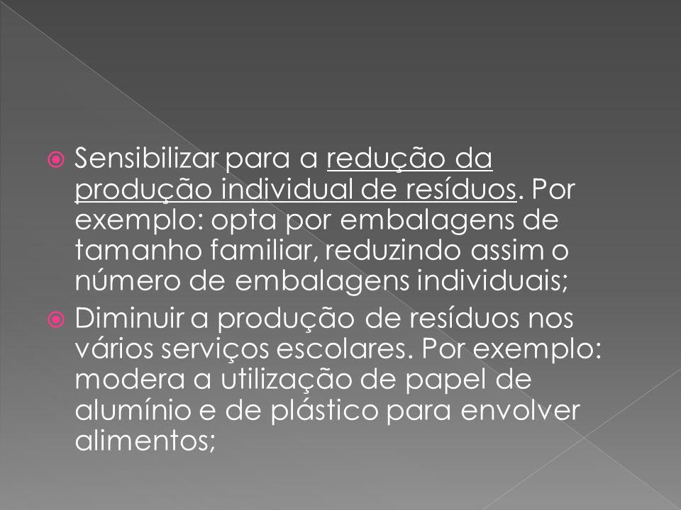 Sensibilizar para a redução da produção individual de resíduos