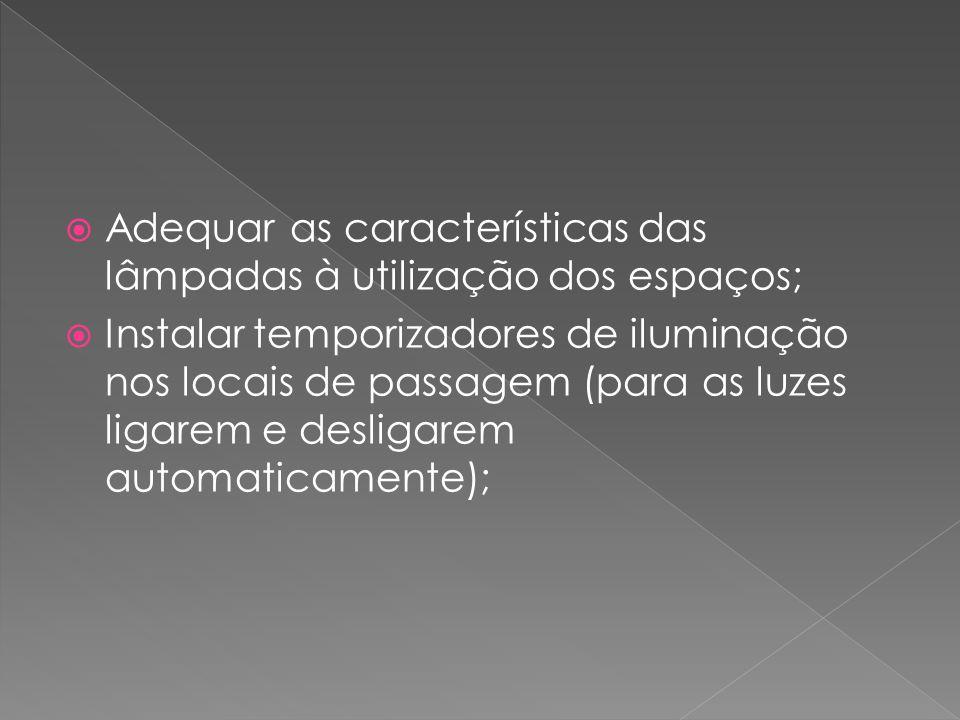 Adequar as características das lâmpadas à utilização dos espaços;
