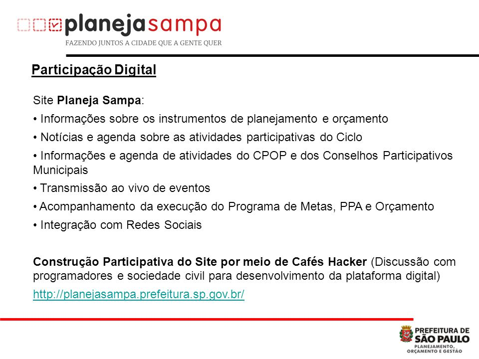 Participação Digital Site Planeja Sampa: