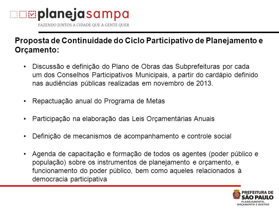 Proposta de Continuidade do Ciclo Participativo de Planejamento e Orçamento: